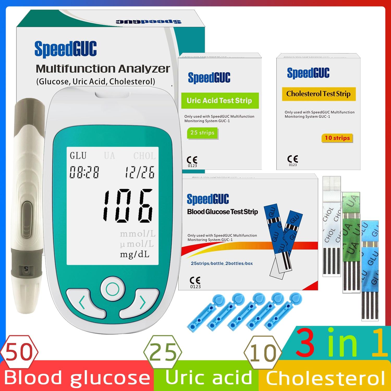 3in1 multifunções colesterol ácido úrico medidor de glicose no sangue glucometer kit diabetes gota tester açúcar no sangue monitor de teste tiras