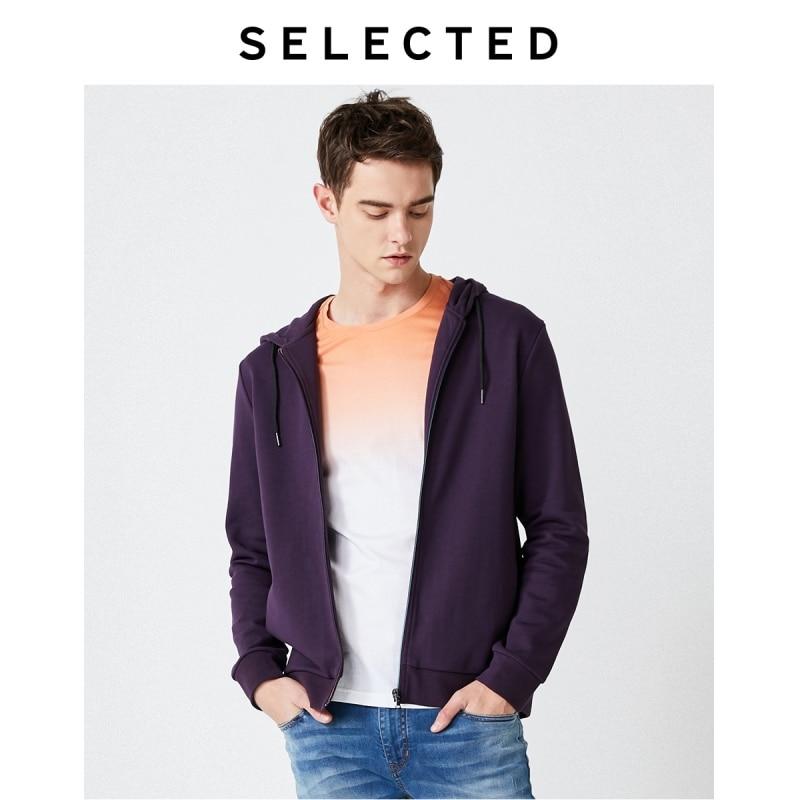 SELECTED Men's Winter 100% Cotton Pure Color Cardigan Hoodie S 41934D502