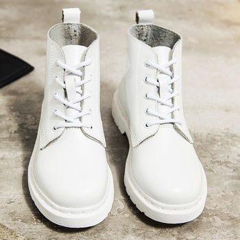 Genuine Leather Boots Women White Ankle Boots Motorcycle Boots Female Autumn Winter Shoes Woman Punk Botas Mujer 2020 Spring autumn winter ankle boots women platform boots lace up black white leather rubber boots woman shoes comfortable women s boots