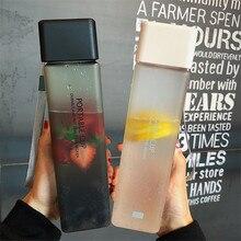 Botella de agua de plástico de 450ml botella cuadrada portátil jugo de fruta a prueba de fugas de deporte al aire libre viaje senderismo botella de Camping Dropsh