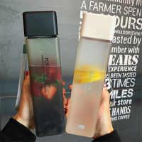 450ml Plastic Water Bottle Portable Square Bottle Fruit Juice Leak-proof Outdoor Sport Travel Hiking Camping Bottle Dropsh