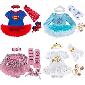 Платье Эльзы для новорожденных, 4 шт./компл., рождественский подарок, 2020