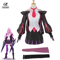 ROLECOS LOL Battle Academia Katarina Cosplay Costumes LOL Katarina Cosplay Costume for Women Top Skirt Uniform Stocking Outfit