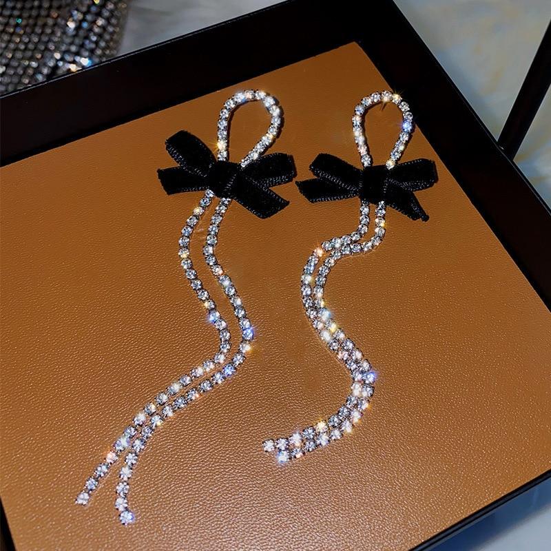 2020 New Contracted Metal Black Bowknot Modelling Drop Earrings Long Tassel Shiny Crystal Fashion Women Earrings Senior