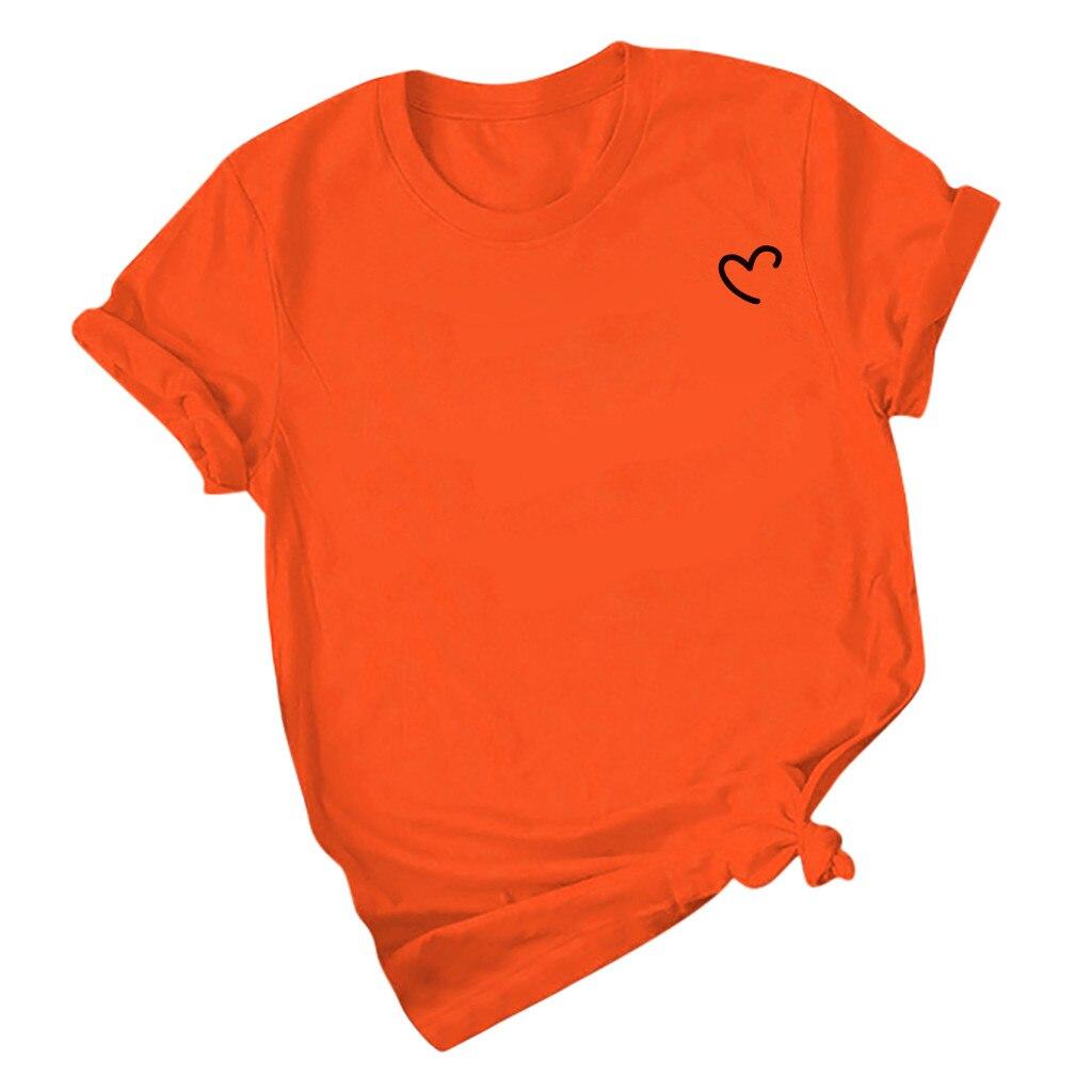 Jaycosin Plus Size Women Summer Heart Printing O-Neck Lady Casual T-shirt Harajuku Streetwear Comfortable Short Sleeve Tops 56