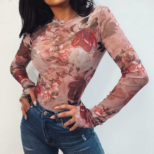 See-through Floral Print T-shirts New Women Sheer Mesh Long Slevees Slim Casual Tops Wear Female Spring Autumn Bodycon Pullovers
