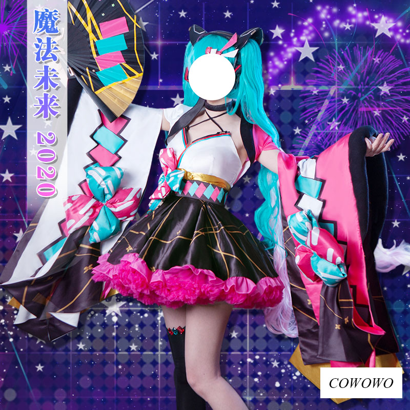 Anime! Vocaloid Miku Magical Mirai 2020 Kimono Summer Festivity Lovely Uniform Cosplay Costume Halloween Suit NEW Free Shipping
