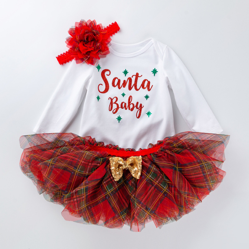 UK Newborn Baby Girl Christmas Romper Plaid Tutu Skirt Dress 3PCS Outfit Clothes
