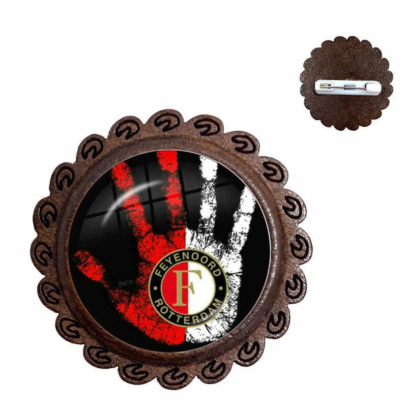 Feyenoord, broche de madera con cabujón de cristal de róterno, logotipo de ligas de fútbol, Collar de Club de fútbol, Pin para mujeres y hombres, regalo para fanáticos