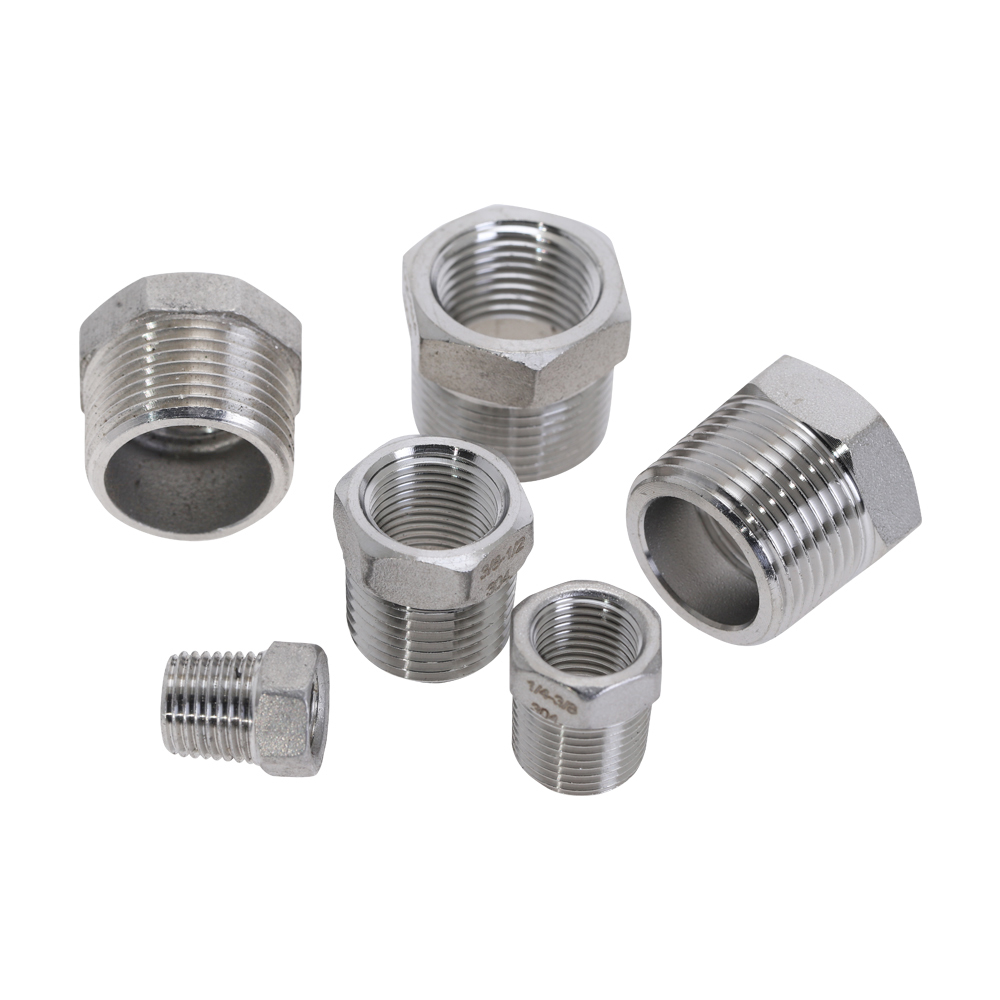 304 stainless steel Pipe Reducer Fittings Hex Reducing Bushing 1/4'' 1/2'' Male To Female Thread DN8 DN10 <font><b>DN15</b></font> DN20 Pipe Fitting image