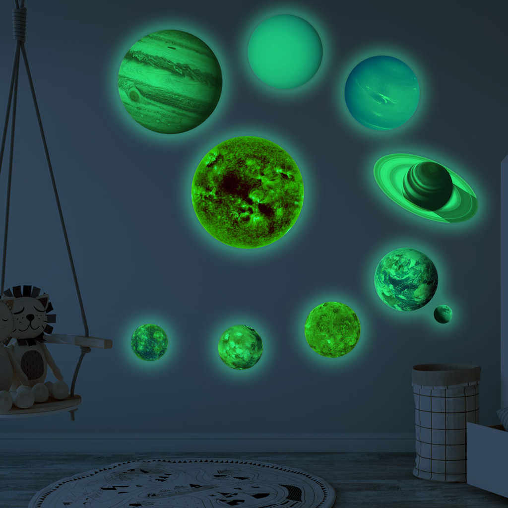 `10pcs/set 9 Planet Solar System Fluorescent Wall Stick The Universe Planet Galaxy Children Room Bedroom Luminous Wall Stickers