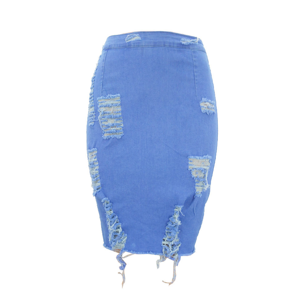 2019 summer Women's A-line Hole Skirt High Waist Ripped Denim Distressed Bodycon Female Pencil Mini Jean Skirt Casual 27