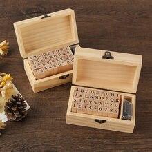 Números retangulares de madeira, carimbo de letras, números infantis, decoração artesanal para diário, faça você mesmo, 1 conjunto com caixa