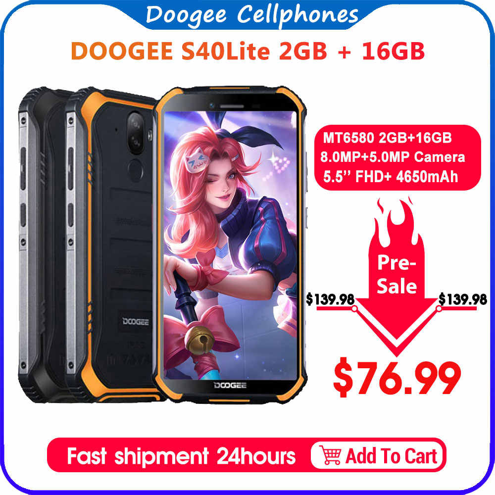 IP68 DOOGEE S40 Lite Telefono Cellulare Robusto Telefono Mobile Display da 5.5 pollici 4650mAh 8.0MP di Impronte Digitali Quad Core 2GB 16GB di Android 9.0