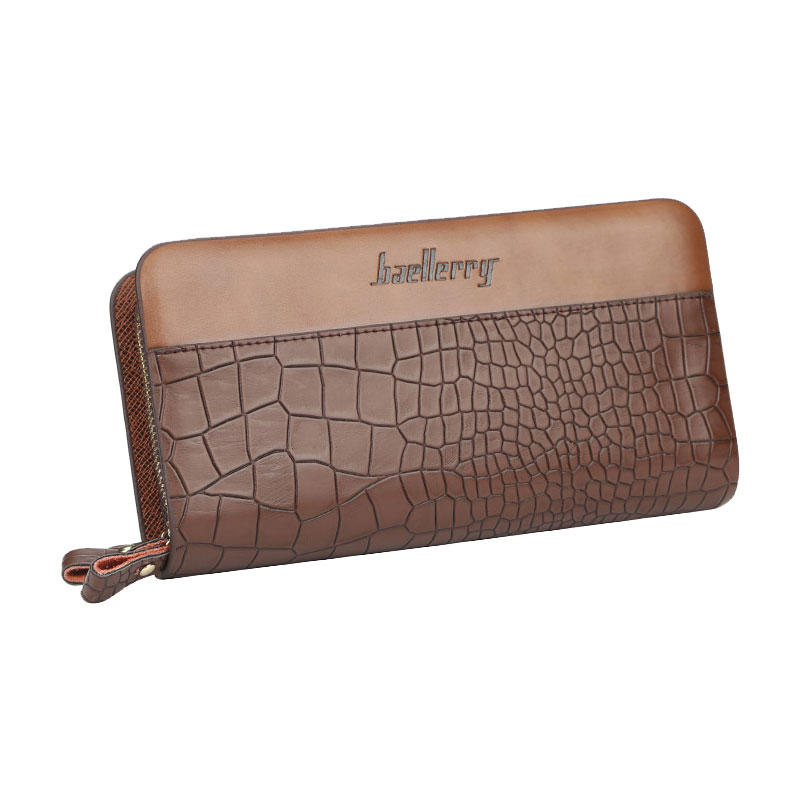 Long Wallet Men Designer Casual Wallets Leather Double Zipper Clutch Bag Business