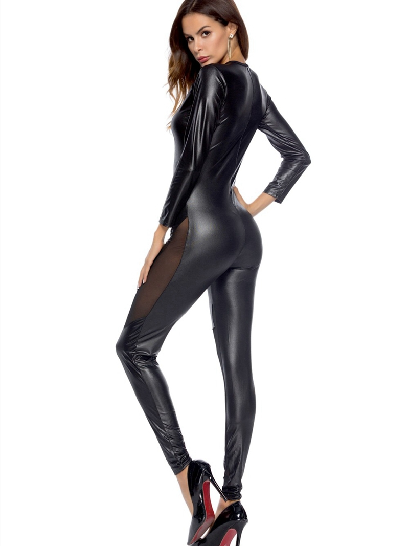 Sexy wetlook Faux Leather Mesh Catsuit Halloween PVC Latex Bodysuit Clubwear fetish hot erotic Pole Dance Lingerie Sexy Costumes in Teddies Bodysuits from Novelty Special Use