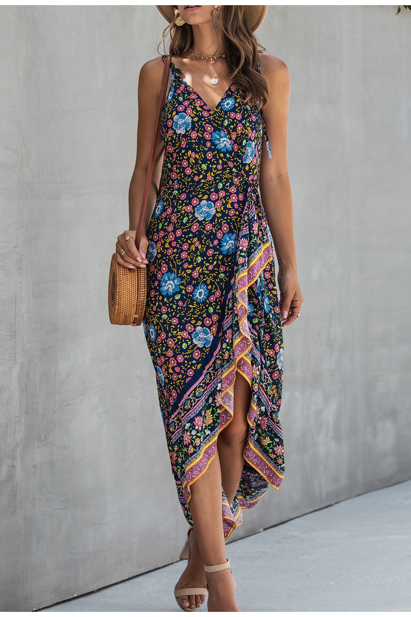 Ruffle Sleeveless Floral Print Strap High Waist Maxi Dress