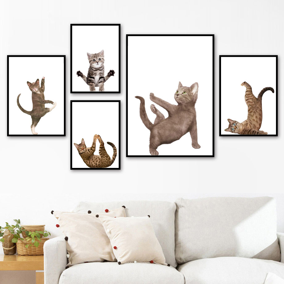 Funny Yoga Cat Wall Art Canvas Painting