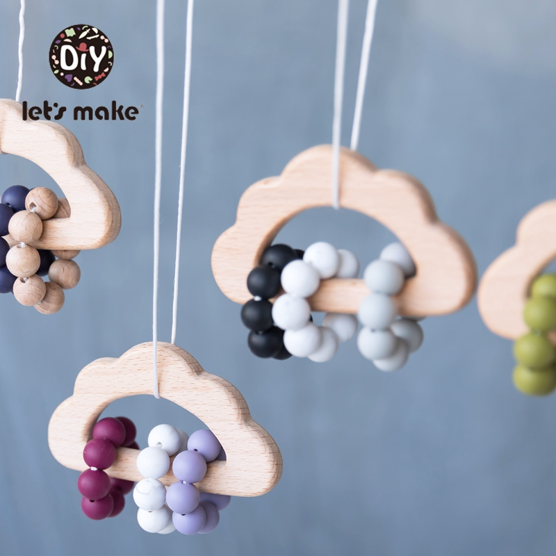 Let's Make 1pc Baby Rattles Food Grade Silicone Beads Cloud Horse Baby Bed Hanging Rattles Toys Make Noise Beech Wooden Bed Bell