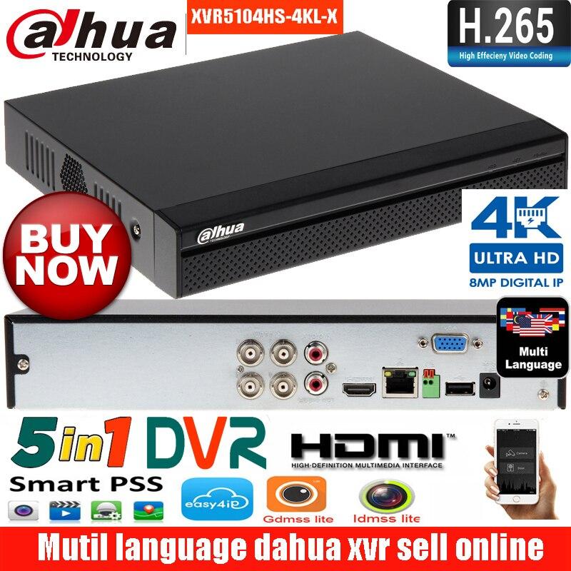 Оригинальный язык mutil dahua XVR5104HS-4KL-X HDCVI аналоговый IP видео input1080P Tribrid DVR Поддержка 8MP IP камера