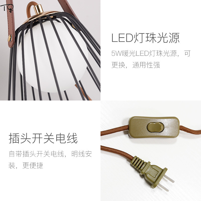 Nordic Modern Belt Gold Led Wall Lamp with Plug Bedroom Bedside Living Room Decoration Individual Creative Iron Net Lamp Desk in LED Indoor Wall Lamps from Lights Lighting