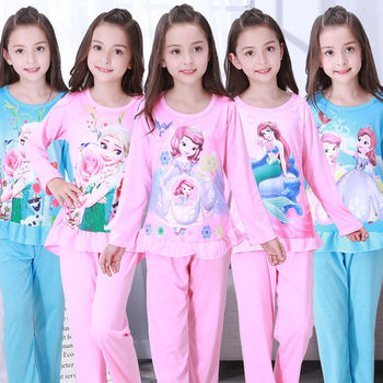 Kid Girls Pajamas Pyjamas Set Autumn Cartoon Princess Frozen Anna Elsa Olaf Nightwear Pijamas Sophia Children Sleepwear Homewear - discount item  23% OFF Children's Clothing