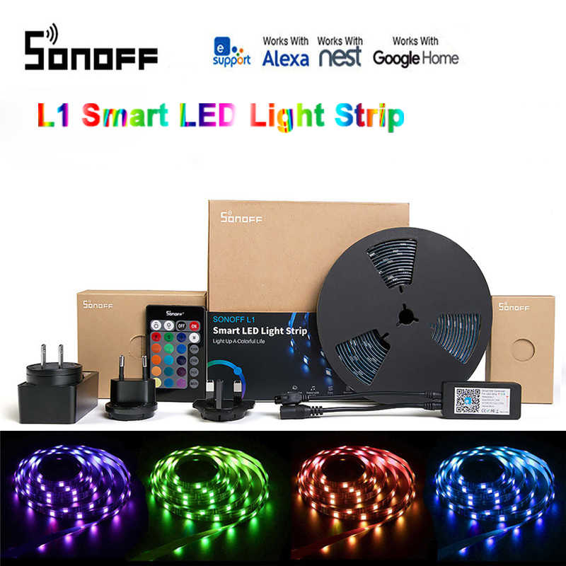 SONOFF L1 Smart LED tira de luz regulable impermeable WiFi Flexible RGB tira de luces funciona con Alexa Google Home, baile con música