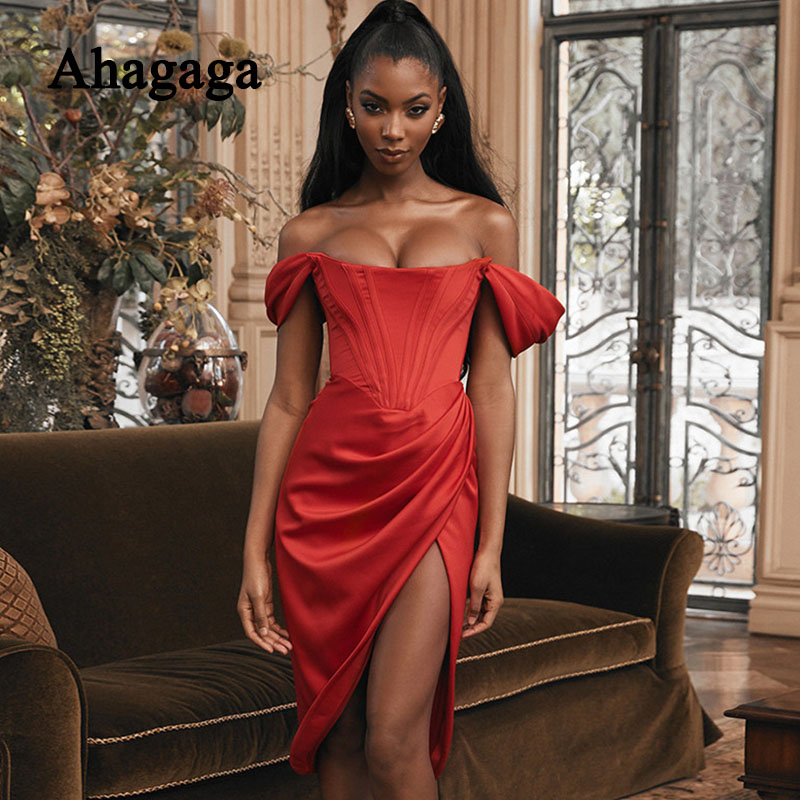 2019 <font><b>Sexy</b></font> Party <font><b>Dress</b></font> Women Fashion Solid Color Side Split Off the Shoulder <font><b>Slash</b></font> Neck Nightclub Women <font><b>Dresses</b></font> Female Vestidos image