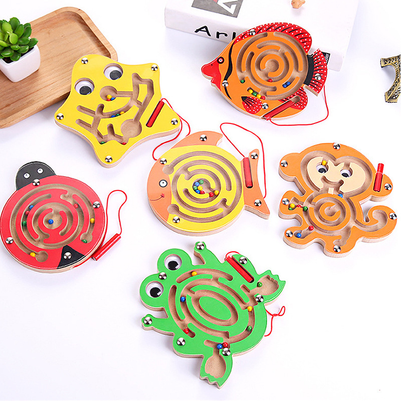 Children Magnetic Maze Toy Kids Wooden Puzzle Game Toy Kids Early Educational Brain Teaser Wooden Toy Intellectual Jigsaw Board
