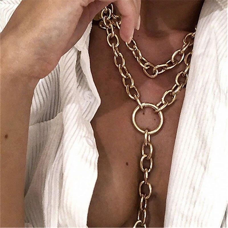 Панк массивное кубинское многослойное ожерелье для женщин и мужчин, винтажный новый дизайн, толстая длинная цепочка, ожерелье в стиле стимпанк, массивное ювелирное изделие|Ожерелья-цепочки| | - AliExpress