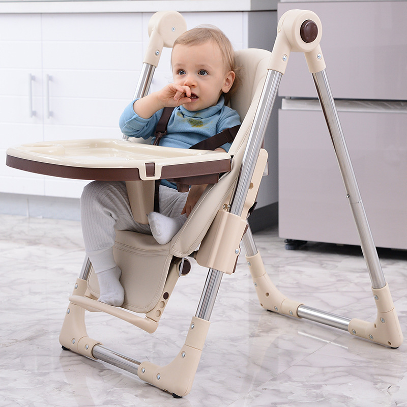 Kids Folding Dining Chairs Plasic Toddler Baby Furniture Stool Foldable Steady  Easy Clean PU High Chair For Kids Anti Slip
