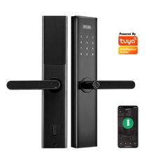 Электронный дверной замок с отпечатком пальца Tuya App, умный дверной замок, роскошная нержавеющая сталь, Wifi, цифровой дверной замок с ручкой для дома, квартиры