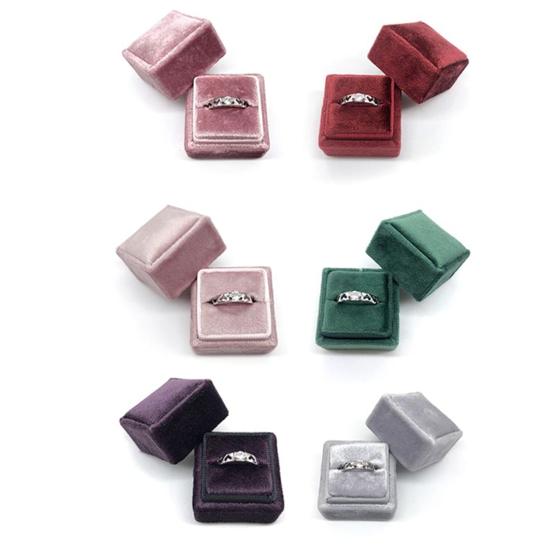 Velvet Single Ring Box Square Wedding Ceremony Ring Box With Detachable Lid