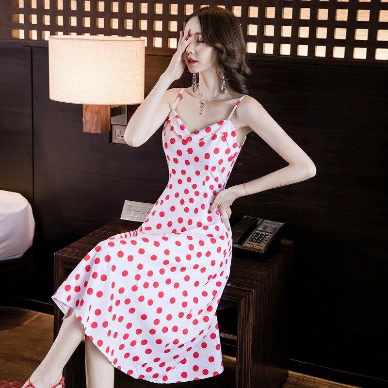 2019 Summer New Products Korean-style Elegant Camisole Polka Dot Slimming Waist Hugging A- Line Medium-length Dress Women's