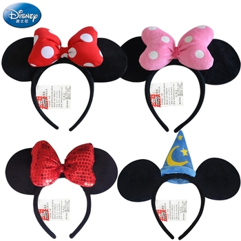Original Disney Plush Animal Plush Mickey Minnie Mickey Headdress Toy Girl Headband Princess Headdress kid Party Decoration Gift cute cartoon girl mickey hair rope minnie doll anime daisy donald headband for kid knotted hair loop women holder headdress gift