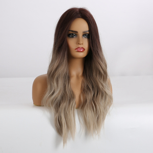 Image 2 - ALAN EATON Long Synthetic Wigs Heat Resistant Fiber Ombre Brown Gray Beige Hair Wigs Middle Part Natural Wave Hair Wig for Women