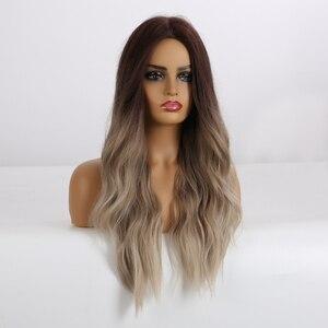 Image 2 - ALAN EATON, Длинные Синтетические парики, термостойкие волокна, Омбре, коричневые, серые, бежевые волосы, парики, средняя часть, натуральные волнистые волосы, парик для женщин