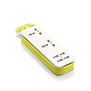 Image 2 - Ue listwa zasilająca z 4 przenośnymi przedłużaczami USB wtyczka Euro 1.5m kabel podróży Adapter USB inteligentna gniazdkowa ładowarka do telefonu pulpit Hub