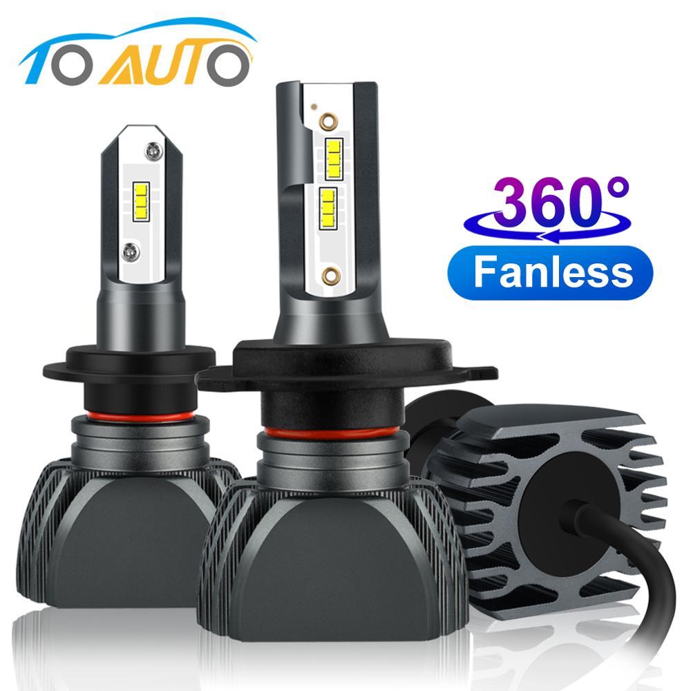 2pcs Fanless H7 H4 Led H1 H3 H11 HB3 9005 HB4 9006 Led H27 880 881 360 Degree Car Headlight Bulbs Auto Head Lamp 12V 6000K 4300K