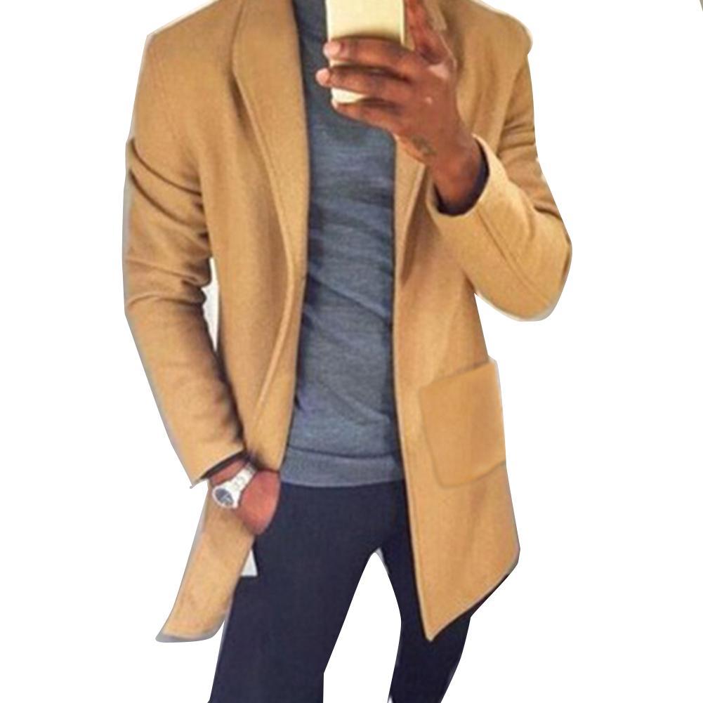 Chic Men Autumn Winter Solid Color Lapel Collar Pockets Long Blazer Trench Coat Christmas Gifts chaquetas hombre куртка мужская