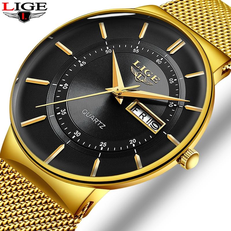 Relogio Masculino 2020 LIGE New Mens Watches Top Brand Luxury Ultra Thin Quartz Watch Men Steel Mesh Strap Waterproof Gold Watch