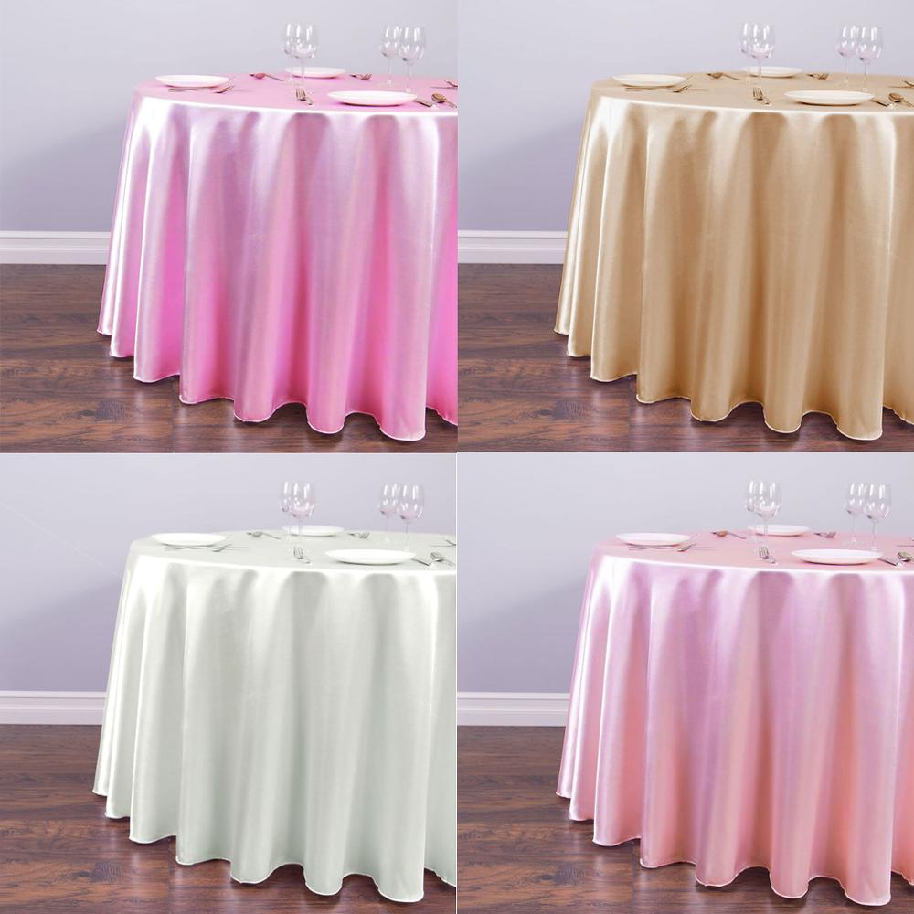 1pcs Round Satin Tablecloth 22 Solid Color For Christmas Wedding Party Decorations Modern Table Covers