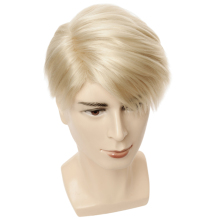 Short Blonde Wigs Men Synthetic Wig Male Straight Side Parting High Temperature Fiber недорого