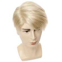 Short Blonde Wigs Men Synthetic Wig Male Straight Side