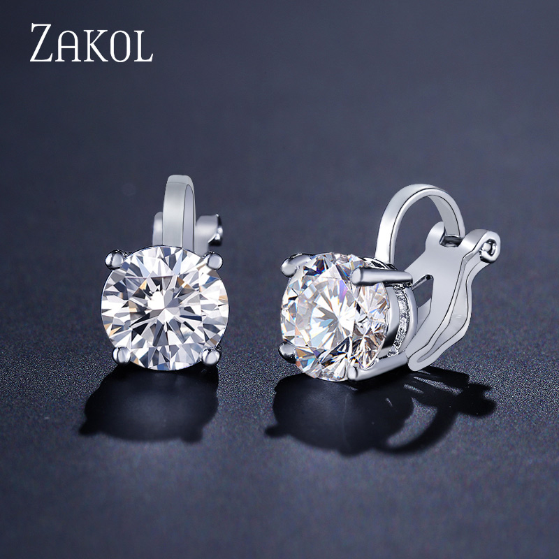 ZAKOL Top Quality Cubic Zirconia Round Clip Earrings For Women Fashion CZ Crystal Female Wedding Party Gift Jewelry FSEP526