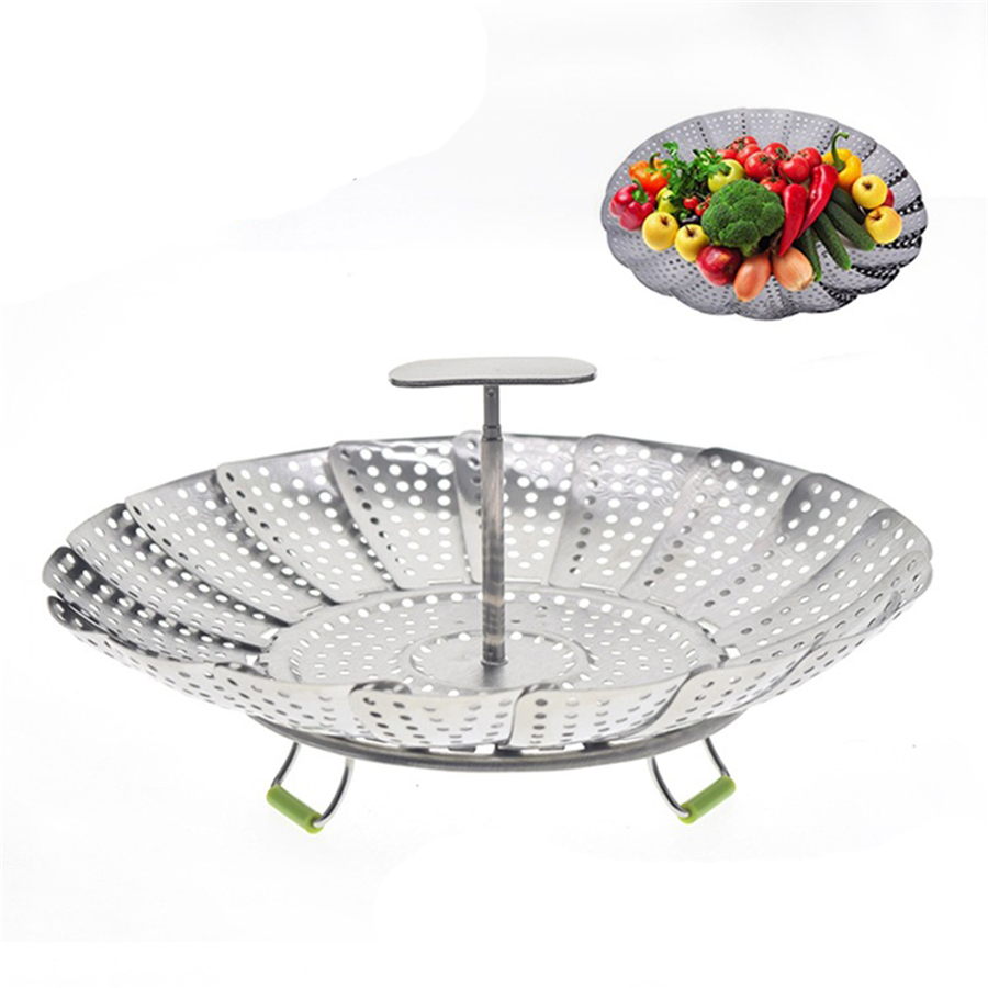 36 Pcs Steamer Basket Stainless Steel Folding Vegetable Steamer Insert With Extendable Handle For Seafood Veggie Wholesale