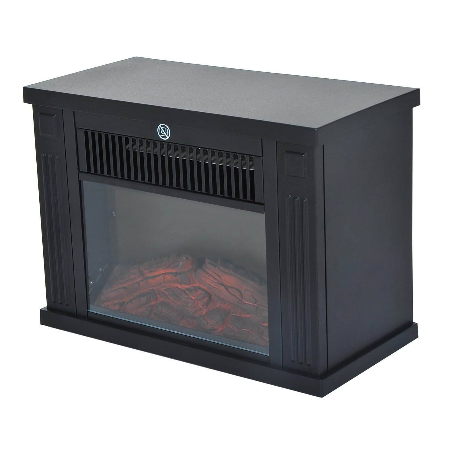 HOMCOM Electric Fireplace Tempered Power 600 W/1200 W Plastic And Glass Floor 34 × 17 × 25 Cm Black