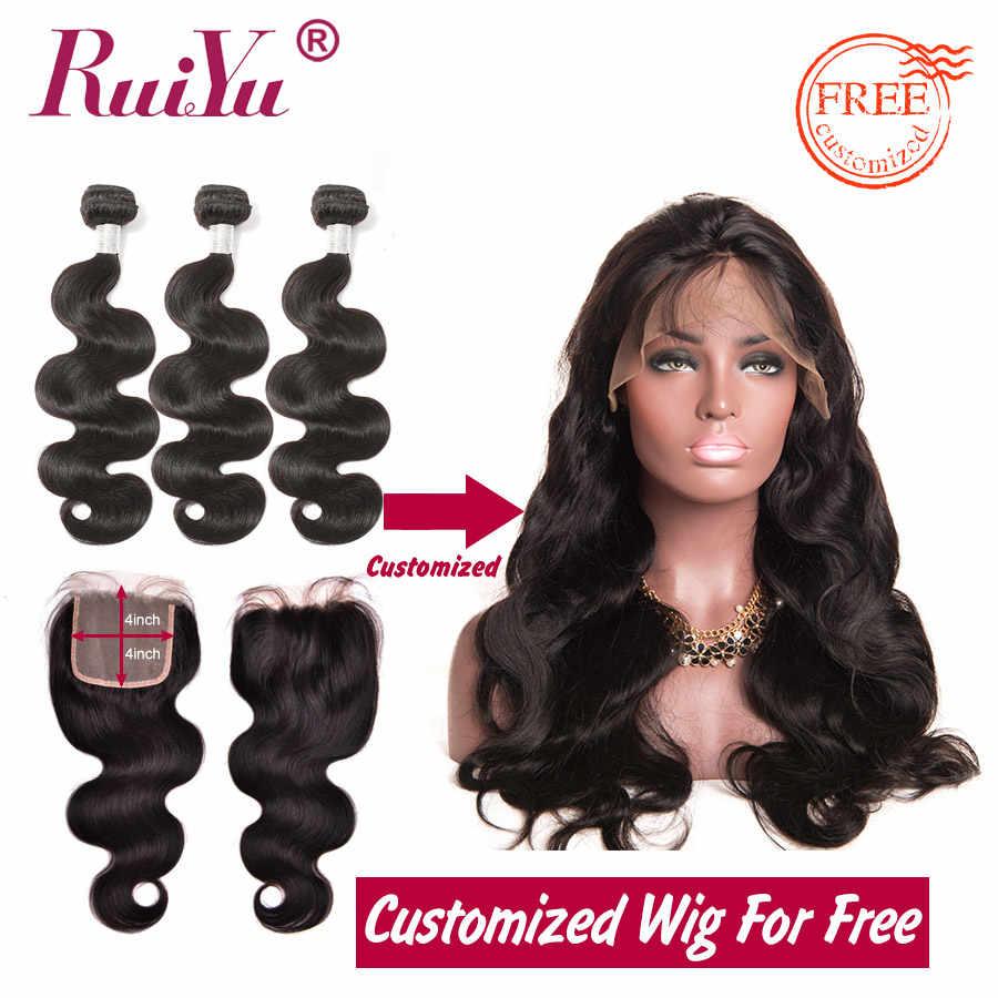 Pelucas brasileñas del pelo humano del frente del cordón de la onda del cuerpo procesadas gratis por los paquetes del pelo humano Remy con el cierre del pelo RUIYU