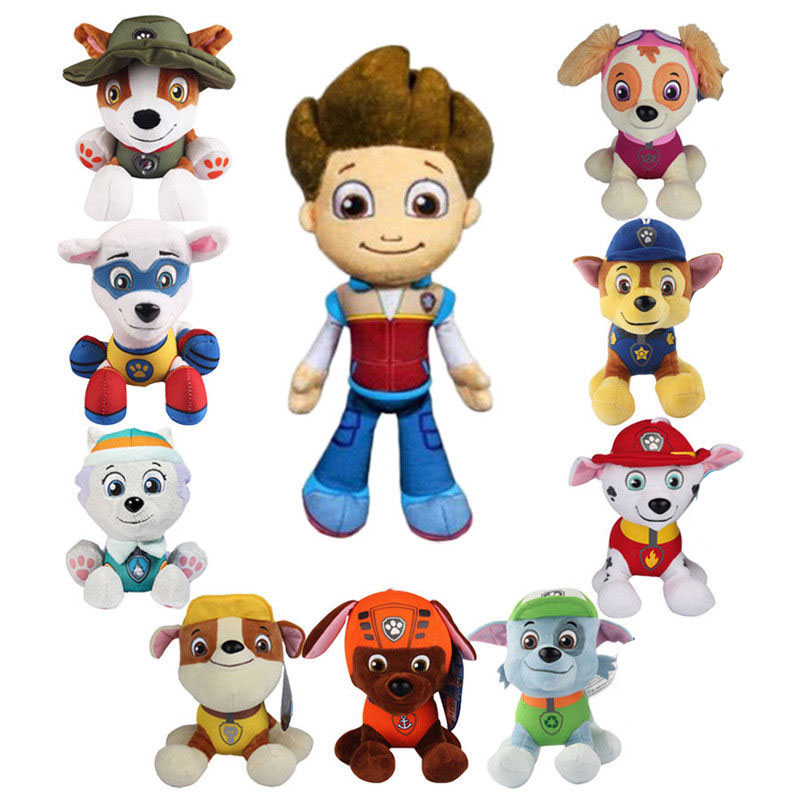 1pc Genuine Paw Patrol 18cm Tang Style Stuffed Plush Toy Ryder Everest Tracker Robot Gift Doll Boys Girls Birthday Party Gift