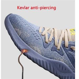 Image 3 - Dewbest 安全靴ブーツ男性のための男性秋通気性作業靴鋼つま先不滅安全ワークブーツスニーカー
